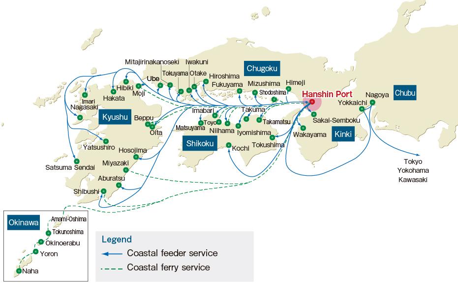 阪神港の内航航路網